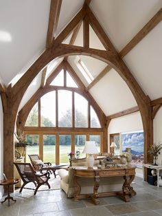 I love the double height - beautiful although I think I might have my kitchen/ breakfast room there. Border Oak - Full glazing and oak cruck frame in a new build barn. Oak Frame House, A Frame Cabin, Border Oak, Oak Framed Buildings, Rustic Home Design, Timber Frame Homes, Timber Frames, Building A House, Building Homes