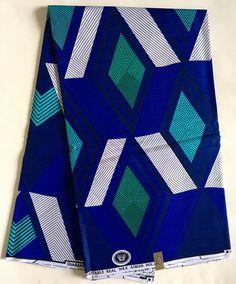 Tissu imprimé africain / Ankara bleu blanc Turquoise
