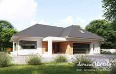 Projekt domu Bagatela 8 G2 130.91 m² - Domowe Klimaty Modern Bungalow House, Bungalow House Plans, Dream House Plans, House Floor Plans, House Entrance, Facade House, Cabin Homes, Door Design, Home Fashion