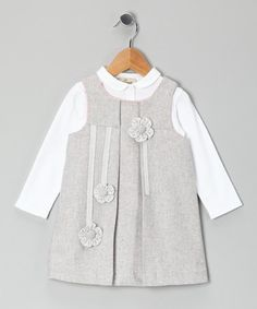 Take a look at this White Blouse & Gray Flower Appliqué Jumper - Toddler & Girls by Alouette on #zulily today!