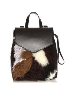 a3482e0e19f3 Loeffler randall Mini Shearling Leather Backpack in Black (Black  Multi)
