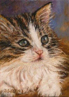 Tabby+Kitten+Oil+Painting+Pet+Portrait+Cat+Feline+Art,+painting+by+artist+Debra+Sisson