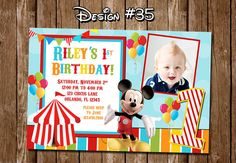 Mickey Mouse Clubhouse Carnival Circus Birthday Party Photo Festival Invitations - Printable