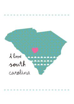 South Carolina Map Illustration size A4 118x83 by petrapanfilova, €8.00
