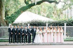 Suzanne Neville : Couple bridal party southern estate venue groomsmen bridesmaids classic wedding blush light black