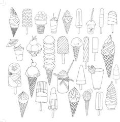 Discover thousands of images about glaces ice cream coloriage adulte anti stress paris fashion adult coloring Doodle Drawings, Doodle Art, Cute Drawings, Coloring Book Pages, Coloring Sheets, Digital Stamps, Printable Coloring, Free Coloring, Doodles