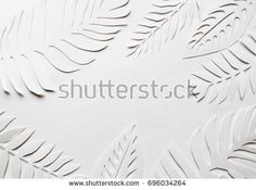 White cut leaves on the white background. Horizontal banner for text. Frame for text.