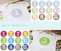 Free month sticker printables to white onesie.