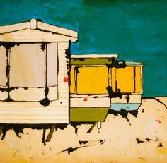 Ltd Edition Art Print Three Static Caravans by TraceyOldham, £25.00