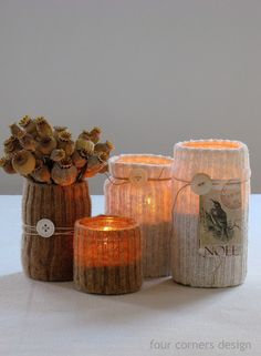 Candle holders made from recycled materials -- sock ribbing over jar, tealight inside. Very clever. Diy Candle Holders, Diy Candles, Candle Jars, Flameless Candles, Mason Jar Crafts, Bottle Crafts, Mason Jars, Diy Projects To Try, Crafts To Make