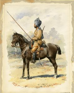 British; 13th Duke of Connaughts's Regiment of Bengal Lancers, 1900. Nice depiction of the identifying markings on the horse and a very clear indication of the small stature of the horses being used.