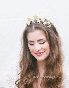 Glitter Stars Holiday Crown, Sliver and Gold Hair Accessory, Holiday Headband, Star Tiara Headpiece