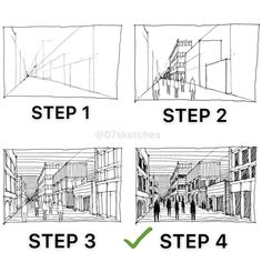 Step by step perspective tutorial. I hope you like it, Thanks :) [LINK IN BIO] For Sketching tips PDF book. Perspective Drawing Lessons, Perspective Sketch, Architecture Concept Drawings, Architecture Sketchbook, Sketching Tips, Urban Sketching, Drawing Techniques, Drawing Tips, Interior Design Sketches
