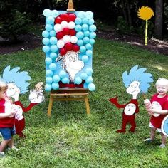 dr seuss balloon pop with lorax face Dr Seuss Party Ideas, Dr Seuss Birthday Party, First Birthday Parties, Birthday Party Themes, Birthday Ideas, Birthday Activities, Twin Birthday, Kid Parties, Birthday Balloons