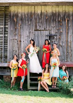 Colorful bridesmaid dresses // photo by: Jen Fariello Photography // Bridesmaid Bouquets: Pat's Floral Designs Cute Wedding Ideas, Free Wedding, Wedding Inspiration, Chic Wedding, Spring Wedding, Perfect Wedding, Bridesmaid Dress Colors, Wedding Bridesmaid Dresses, Bridesmaid Ideas