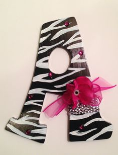 Zebra Print Handpainted Name Letters by JKlineDesigns on Etsy, $10.00 per letter with custom embellishments