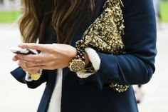 want. navy blazer, sequined clutch, tortoiseshell watch.