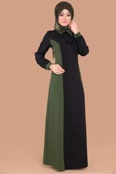 ** YENİ ÜRÜN ** Çift Renkli Tesettür Elbise Siyah&Haki Ürün Kodu: MDS2026 --> 94.90 TL Batik Fashion, Abaya Fashion, Muslim Fashion, Fashion Dresses, Modest Dresses, Maternity Dresses, Hijab Dress Party, Modele Hijab, Beachwear Fashion