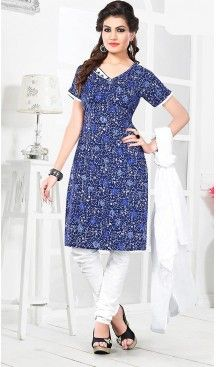 Blue Color Cotton Fabric Stitched Churidar Suit with Dupatta | FH448370483 #casual, #salwar, #kameez, #online, #trendy, #shopping, #latest, #collections, #summer,#shalwar, #hot, #season, #suits, #cheap, #indian, #womens, #dress, #design, #fashion, #boutique, #heenastyle, #clothing, #cotton, #printed, #materials, @heenastyle