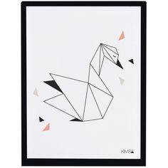 Le poster encadré géométrique cygne Origami play by Claudia Soria pour Lilipinso apporte une touche de modernité à une chambre d'enfant.