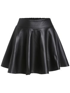 Shop Black Faux Leather Elastic Waist Flare Skirt at ROMWE, discover more fashion styles online. Leather Look Skirts, Leather Skater Skirts, Mini Skater Skirt, Flared Mini Skirt, Faux Leather Skirt, Black Faux Leather, Pu Leather, Leather Leggings, Fall Skirts