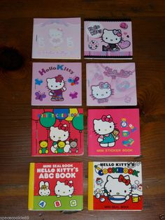 VINTAGE 1976-2008 SANRIO HELLO KITTY MINI SEAL STICKER BOOKS LOT OF 8 EXCELLENT