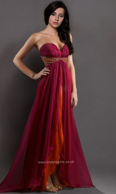 Floor Length Ruffled high low prom dresses 2013