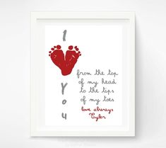 Valentines Day Gift for New Dad - Gift for Grandparents, Valentine for Grandma, Mom - Red Heart I Love You Art Print. $30.00, via Etsy.