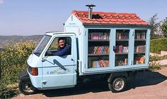 Tiny Mobile Library Travels Italian Countryside #Book, #Library
