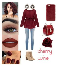 """""""🍷🍒cherry wine🍒🍷"""" by dreamerz-dream-on ❤ liked on Polyvore featuring Givenchy, Yves Saint Laurent and Missguided"""