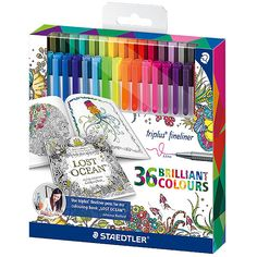 Buy Staedtler - Triplus Fineliners Johanna Basford online and save! Staedtler – Triplus Fineliners Johanna Basford – Pack of 36 Staedtler triplus colour fineliners are high quality fibre-tip pens with sturdy, pressure. Fineliner Set, Adult Coloring Pages, Coloring Books, Easy Writing, Pen Sets, Copics, Colored Pencils, Doodles, Back To School
