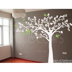 """Authentic Only from PopDecors Big tree with love birds(100"""" W) - Wall Decals Art Stickers for Bedroom Home Decor"""