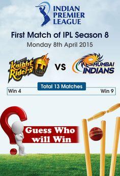 #IPL 1st match of Season - 8 Kolkata Knight Riders vs Mumbai Indians #KKRvMI #finlace