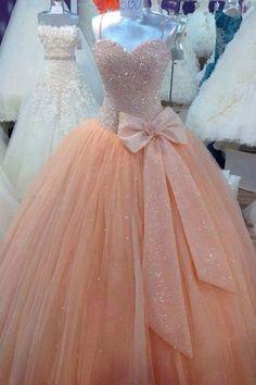 puffy peach pink dress bow glitter prom dress formal dress chiffon dress long…