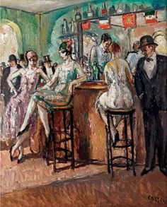 Painting by Marcel Cosson (1878-1956), Au bar de chez Maxim's, Oil on board.