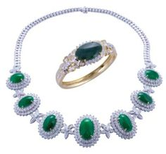 Emerald and diamond ring and necklace by LS Oriental.