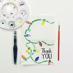 Watercolor Thank You Card - Hand Painted Original by SunshinyArt on Etsy https://www.etsy.com/listing/256490576/watercolor-thank-you-card-hand-painted