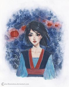 Mulan by ARiA-Illustration Heros Disney, Disney Girls, Disney Cartoons, Disney Movies, Disney Characters, Disney Princess Art, Disney Fan Art, Disney Animation, Animation Film
