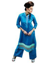 Buy Blue embriodered cotton long kurtis kurtas-and-kurti online