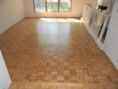 refinished a parquet floor with waterbase finish.