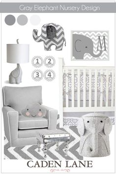 Gray Elephant Nursery Design