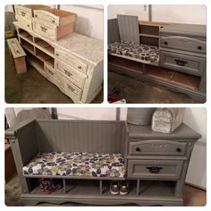 Old dresser into functional seating/storage unit! Inspiration only