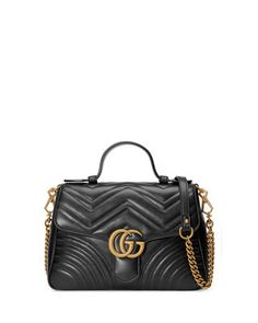 a17d7d04145 Gucci GG Marmont Small Chevron Quilted Top-Handle Bag with Chain Strap