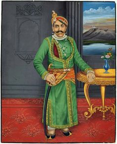 Maharaja bhupal Singh of Udaipur.. 32 nd Maharana of mewad .. son of Maharana Fateh Singh ji.. he was born in 1884 and at the age of 16 he was paralysed to waist down.. he was ascended to throne 1930 to 1955.. In portrait possibly Maharana was in Chandra mahal ( lake palace ) and sajjangarh are seen out the window which are famous as monsoon palace..