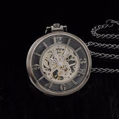 Antique Silver Transparent Open Face Arabic Numerals Skeleton Dial Pocket Watch