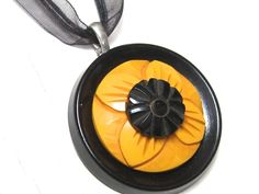 Yellow and Black Flower Bakelite Vintage Button Pendant Necklace Jewelry - handmade!