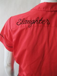Vintage bowling shirt  Slaughter 1960s red by afterglowvintage, $42.00