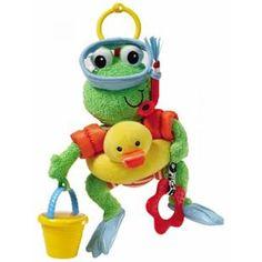 Broscuta scafandru este o jucarie de plus foarte haioasa si viu colorata. Broscuta este asezata pe un colac de salvare in forma de ratusca si este echipata corespunzator unui scafandru adevarat...