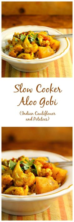 Slow cooker aloo gobi (Indian spiced cauliflower and potatoes), from The Perfect Pantry. Slow Cooker Aloo Gobi (indischer Gewürzblumenkohl und Kartoffeln) von The Perfect Pantry. Veggie Recipes, Indian Food Recipes, Whole Food Recipes, Vegetarian Recipes, Healthy Recipes, Broccoli Recipes, Vegetarian Cooking, Veggie Food, Food Food