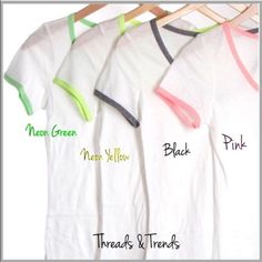 V-Neck Tees 4 Colors The perfect V neck tees trimmed in fun summer colors of neon green, neon yellow, pink and grey. Made of cotton. Size S, M, L Threads & Trends Tops Tees - Short Sleeve